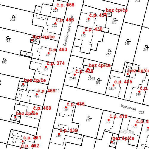 Katastrální mapa Stavební objekt Dobrovice 438, Dobrovice