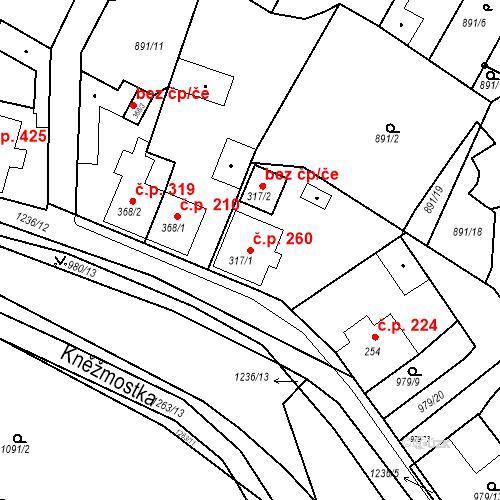 Katastrální mapa Stavební objekt Bakov nad Jizerou 260, Bakov nad Jizerou
