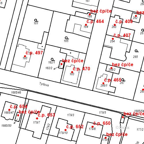 Katastrální mapa Stavební objekt Dobrovice 470, Dobrovice