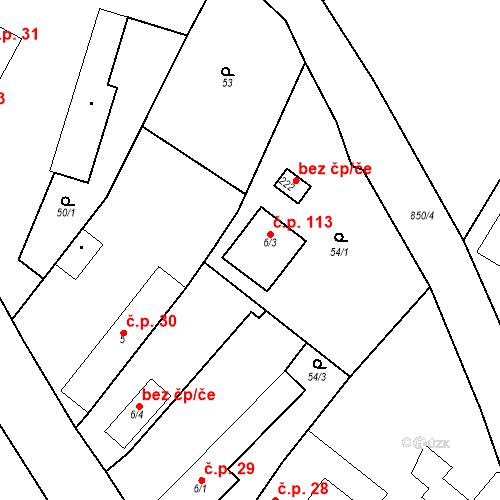 Katastrální mapa Stavební objekt Vinařice 113, Vinařice