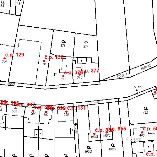 Katastrální mapa Stavební objekt Kosmonosy 377, Kosmonosy