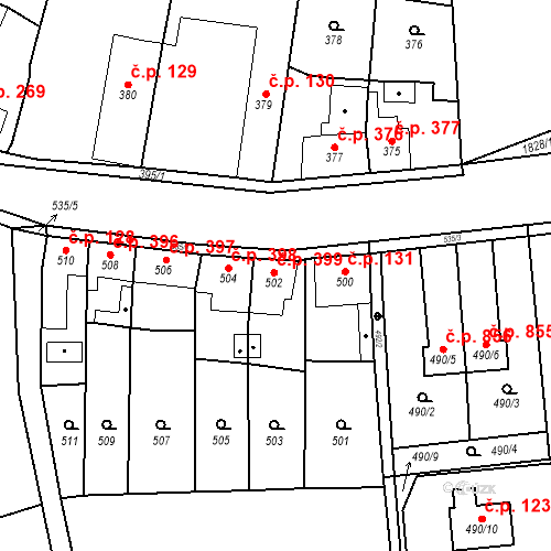 Katastrální mapa Stavební objekt Kosmonosy 399, Kosmonosy