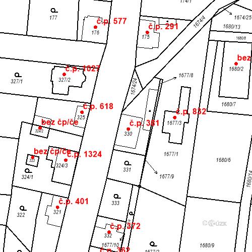 Katastrální mapa Stavební objekt Kosmonosy 381, Kosmonosy