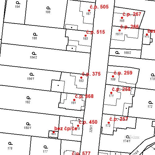 Katastrální mapa Stavební objekt Kosmonosy 375, Kosmonosy
