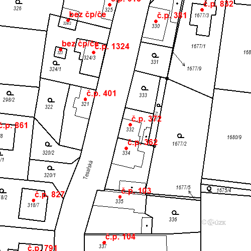 Katastrální mapa Stavební objekt Kosmonosy 372, Kosmonosy