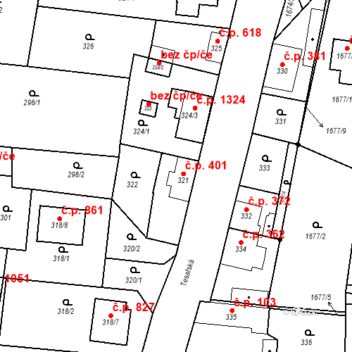 Katastrální mapa Stavební objekt Kosmonosy 401, Kosmonosy