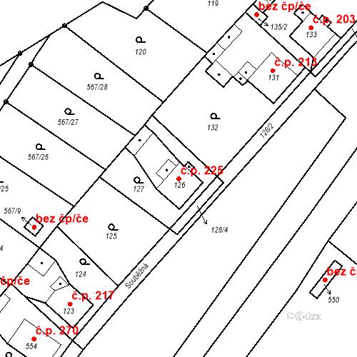 Katastrální mapa Stavební objekt Donín 225, Hrádek nad Nisou