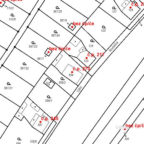 Katastrální mapa Stavební objekt Donín 270, Hrádek nad Nisou