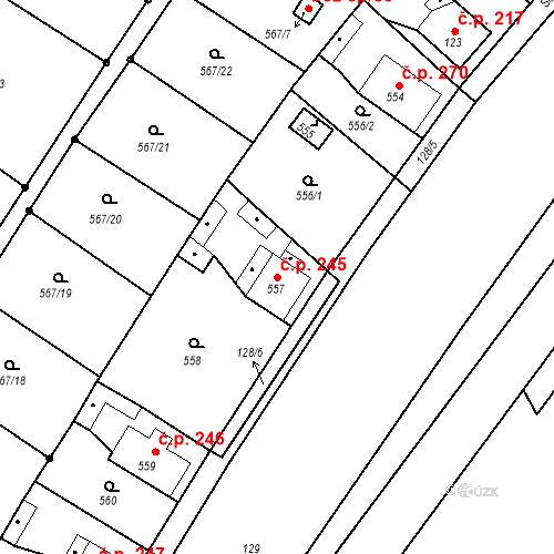 Katastrální mapa Stavební objekt Donín 245, Hrádek nad Nisou