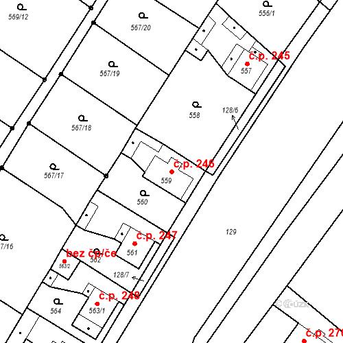 Katastrální mapa Stavební objekt Donín 246, Hrádek nad Nisou