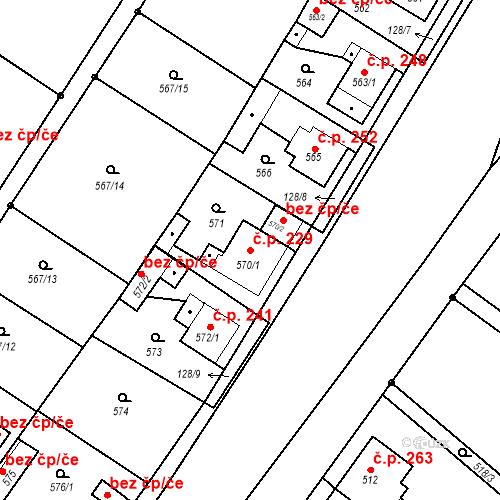 Katastrální mapa Stavební objekt Donín 229, Hrádek nad Nisou
