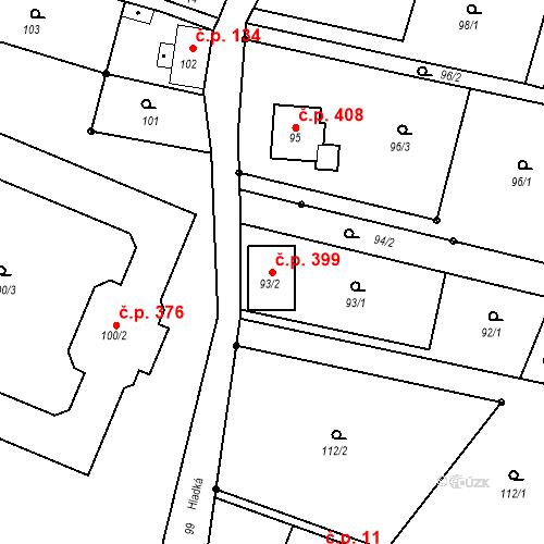 Katastrální mapa Stavební objekt Donín 399, Hrádek nad Nisou