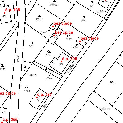Katastrální mapa Stavební objekt Donín 205, Hrádek nad Nisou