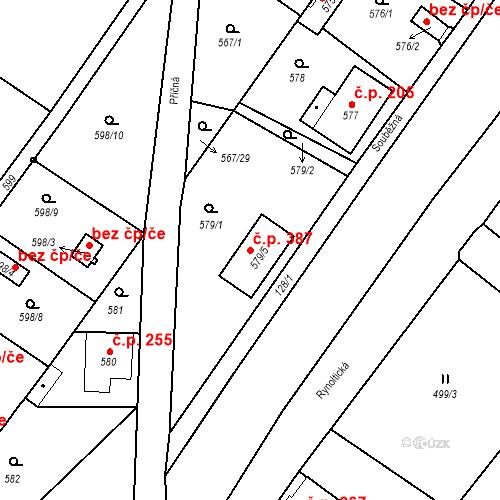 Katastrální mapa Stavební objekt Donín 387, Hrádek nad Nisou