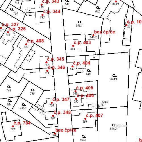 Katastrální mapa Stavební objekt Kosmonosy 404, Kosmonosy