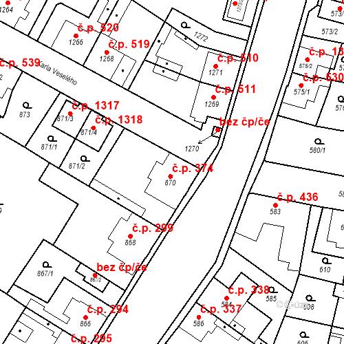 Katastrální mapa Stavební objekt Kosmonosy 374, Kosmonosy