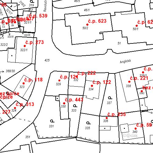 Katastrální mapa Stavební objekt Hrádek nad Nisou 222, Hrádek nad Nisou