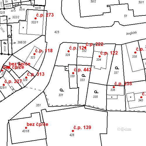 Katastrální mapa Stavební objekt Hrádek nad Nisou 443, Hrádek nad Nisou