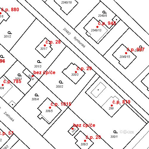 Katastrální mapa Stavební objekt Sadská 29, Sadská
