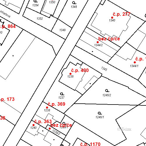 Katastrální mapa Stavební objekt Kosmonosy 400, Kosmonosy