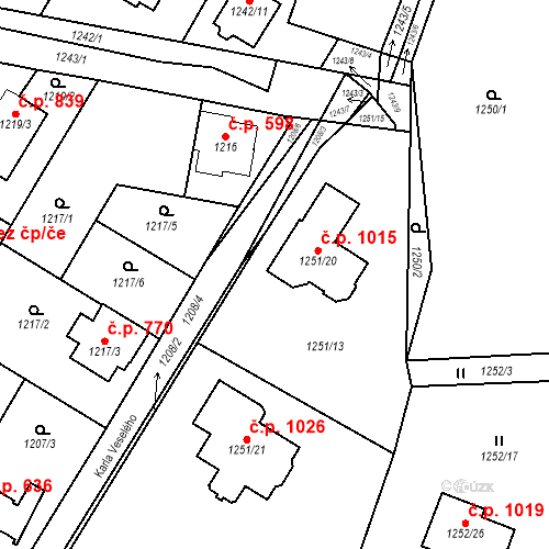 Katastrální mapa Stavební objekt Kosmonosy 1015, Kosmonosy