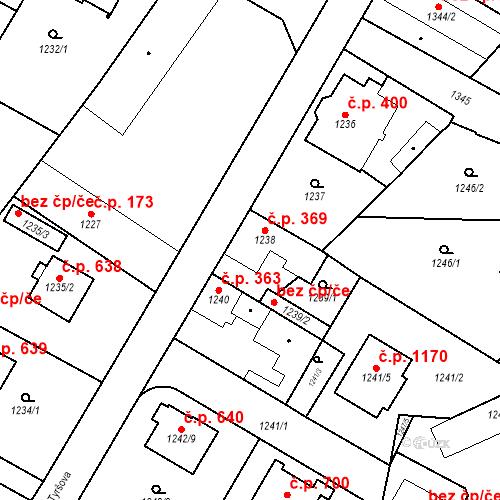 Katastrální mapa Stavební objekt Kosmonosy 369, Kosmonosy