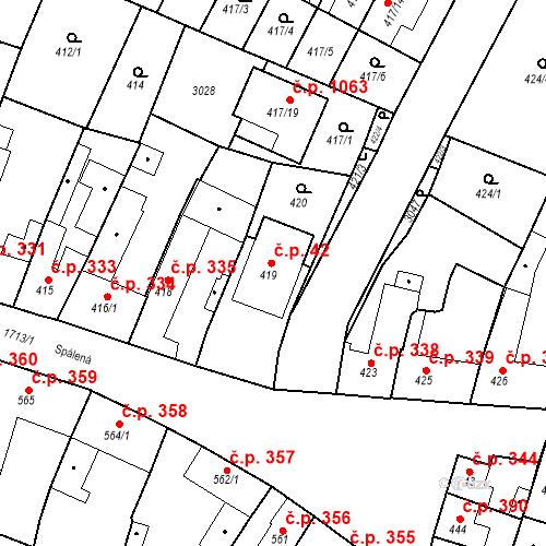 Katastrální mapa Stavební objekt Sadská 42, Sadská