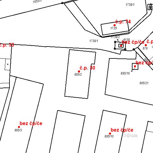 Katastrální mapa Stavební objekt Sadská 30, Sadská