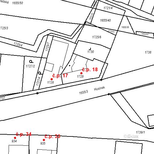 Katastrální mapa Stavební objekt Sadská 18, Sadská