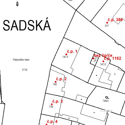Katastrální mapa Stavební objekt Sadská 1, Sadská