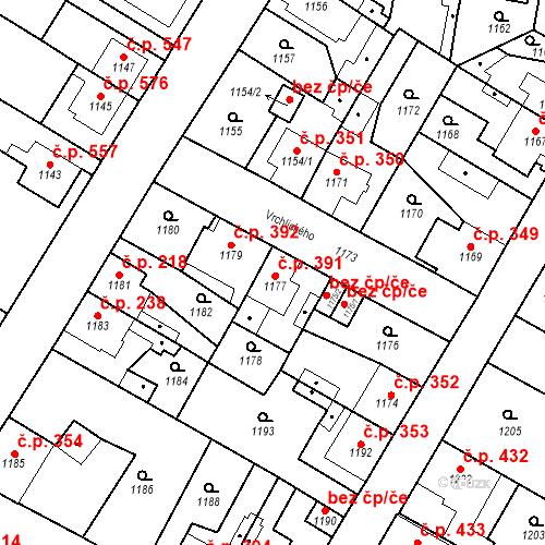 Katastrální mapa Stavební objekt Kosmonosy 391, Kosmonosy