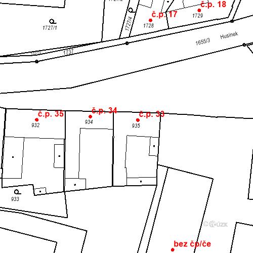 Katastrální mapa Stavební objekt Sadská 33, Sadská