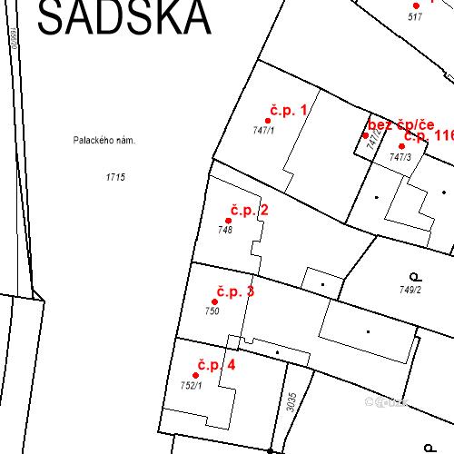 Katastrální mapa Stavební objekt Sadská 2, Sadská