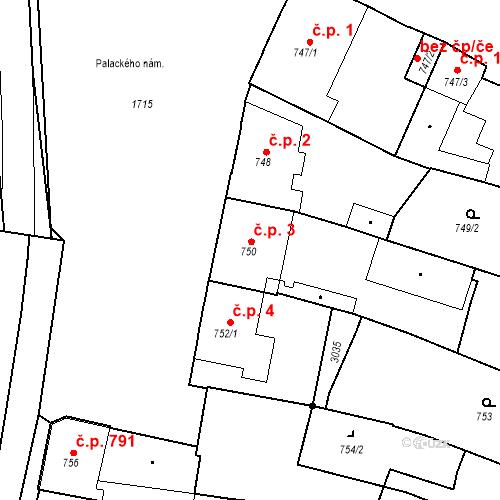 Katastrální mapa Stavební objekt Sadská 3, Sadská