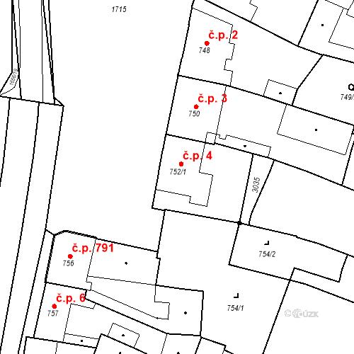 Katastrální mapa Stavební objekt Sadská 4, Sadská
