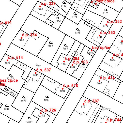 Katastrální mapa Stavební objekt Kosmonosy 394, Kosmonosy