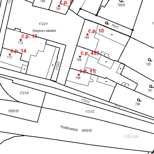 Katastrální mapa Stavební objekt Sadská 11, Sadská