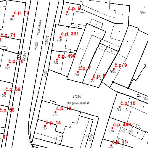 Katastrální mapa Stavební objekt Sadská 7, Sadská