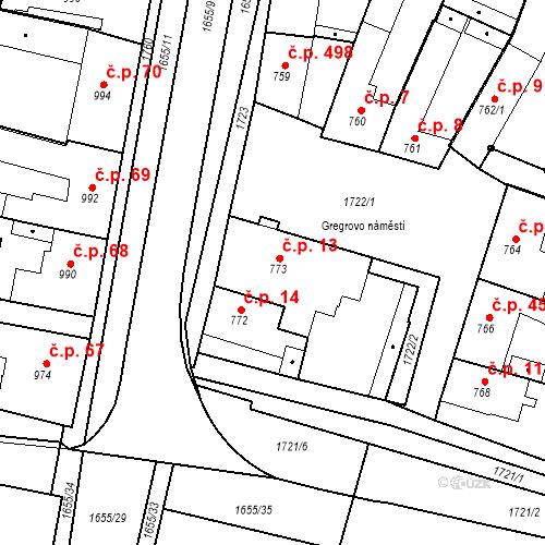 Katastrální mapa Stavební objekt Sadská 13, Sadská