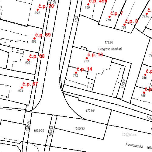 Katastrální mapa Stavební objekt Sadská 14, Sadská