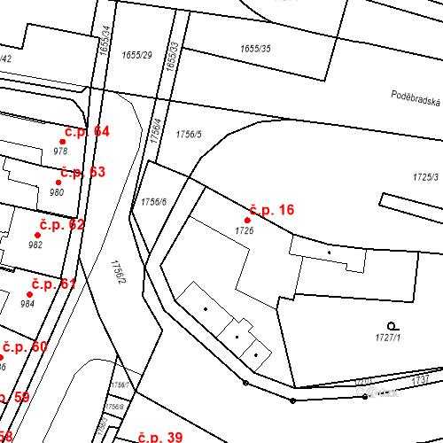 Katastrální mapa Stavební objekt Sadská 16, Sadská