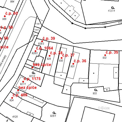 Katastrální mapa Stavební objekt Sadská 37, Sadská