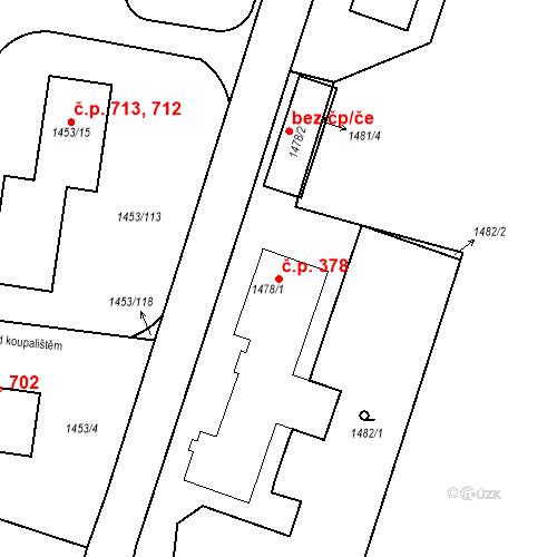 Katastrální mapa Stavební objekt Kosmonosy 378, Kosmonosy