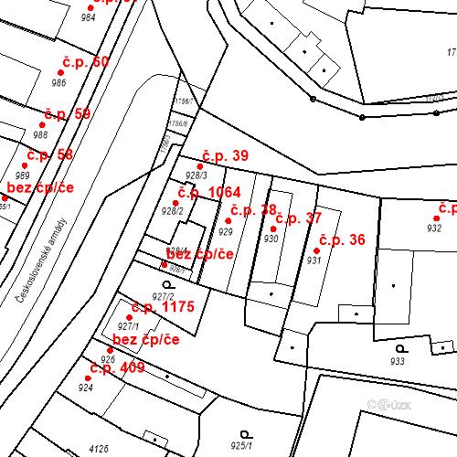 Katastrální mapa Stavební objekt Sadská 38, Sadská