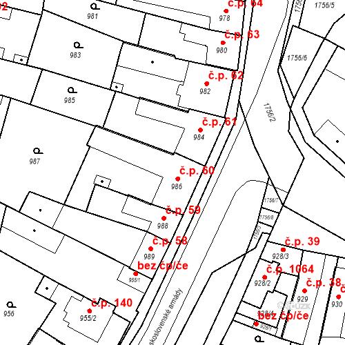 Katastrální mapa Stavební objekt Sadská 60, Sadská
