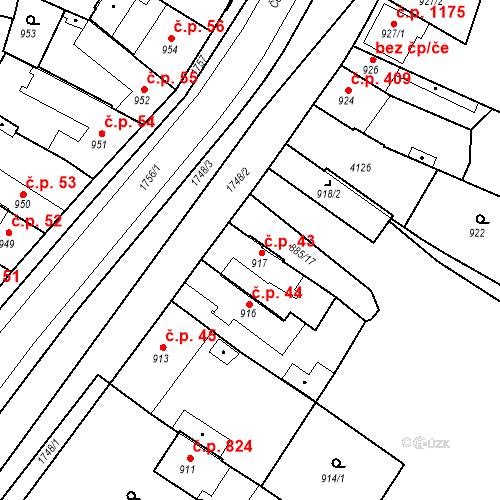 Katastrální mapa Stavební objekt Sadská 43, Sadská