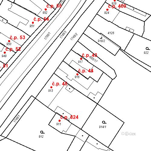 Katastrální mapa Stavební objekt Sadská 44, Sadská