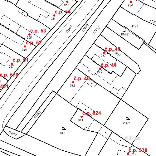 Katastrální mapa Stavební objekt Sadská 45, Sadská