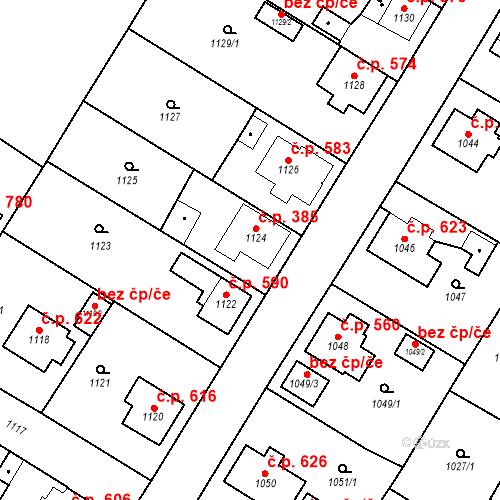 Katastrální mapa Stavební objekt Kosmonosy 385, Kosmonosy