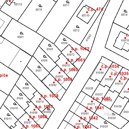 Katastrální mapa Stavební objekt Sadská 1061, Sadská
